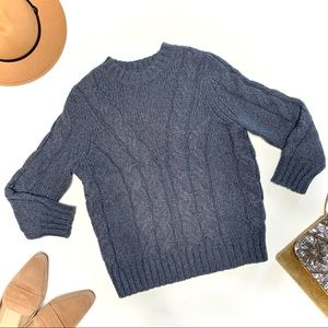 Ann Taylor Gray Crop Wool Cable Knit Sweater